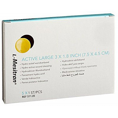 Bioskin L-Mesitran Hydro Active wound Dressing Active Large 3 x 1.8 inch (7.5 x 4.5 cm) 1piece