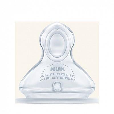 Nuk First Choice Plus Θηλή Σιλικόνης Μ (Μεσαία Οπή για Γάλα) με Βαλβίδα 0-6 Μηνών 1τμχ
