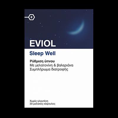 Eviol Sleep Well Φόρμουλα με βαλεριάνα & μελατονίνη για την αντιμετώπιση της Αϋπνίας, 30caps