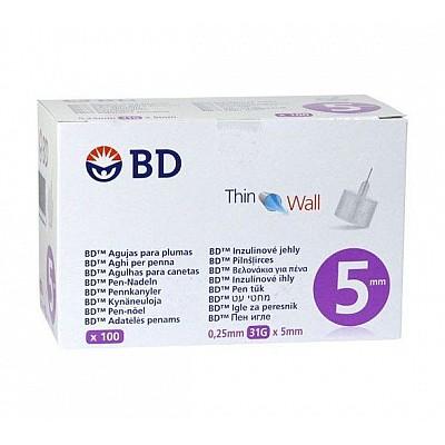 BD Micro-Fine + 5mm, Αποστειρωμένες βελόνες ινσουλίνης 31G 0,25 x 5mm 100 τμχ