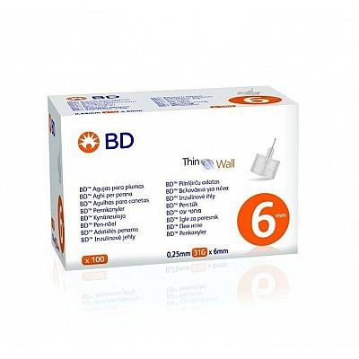 BD Thin Wall Αποστειρωμένες Βελόνες για Πένες Ινσουλίνης 31GX6MM 100 Tμχ