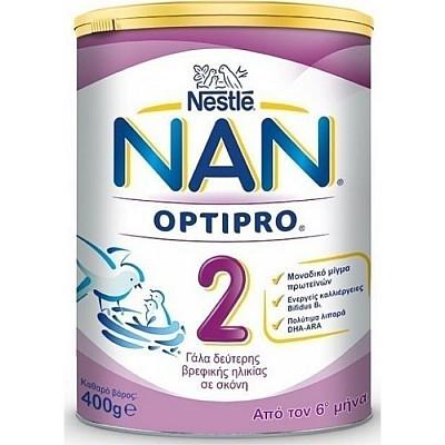 Nestle ΝΑΝ 2 Optipro Γάλα 2ης Βρεφικής Ηλικίας με Μοναδικό Μίγμα Πρωτεϊνών, 400gr
