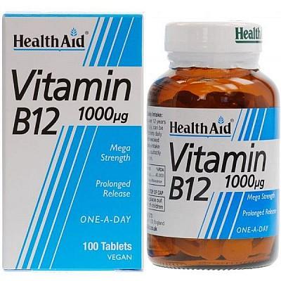 Health Aid Vitamin B12 1000μg Βιταμίνη B12 για την Καλή Λειτουργία του Νευρικού Συστήματος, 100 tabs