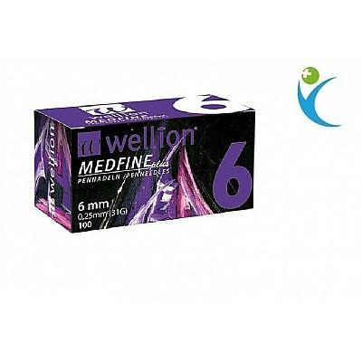 WELLION MEDFINE PLUS (ΒΕΛΟΝΕΣ ΙΝΣΟΥΛΙΝΗΣ) 31G (6MM/0,25MM) 100ΤΕΜ