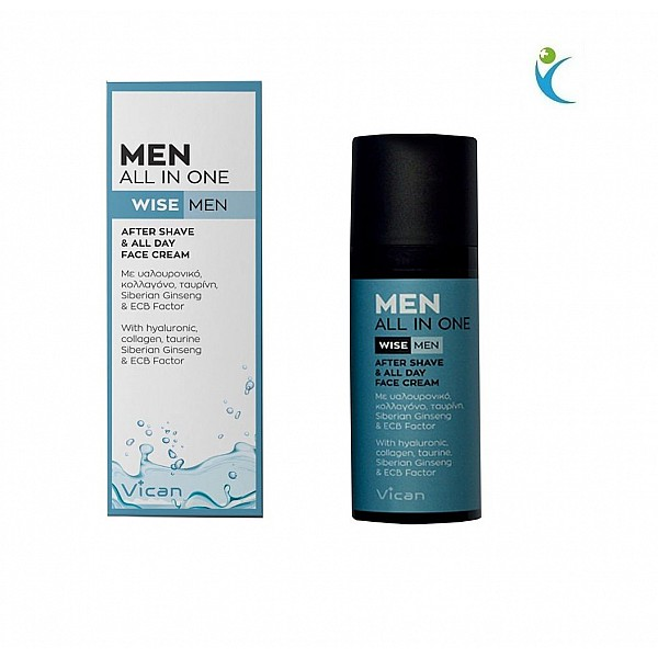 Vican Men All In One After Shave & All Day Face Cream Κρέμα Προσώπου για μετά το Ξύρισμα, 50ml