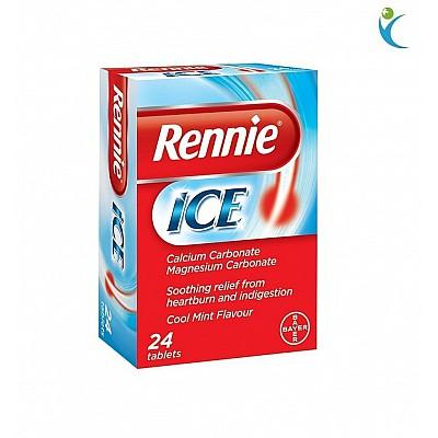 Bayer Rennie Ice Συμπλήρωμα Διατροφής για τη Δυσπεψία, με γεύση μέντας, 24 chew. tabs