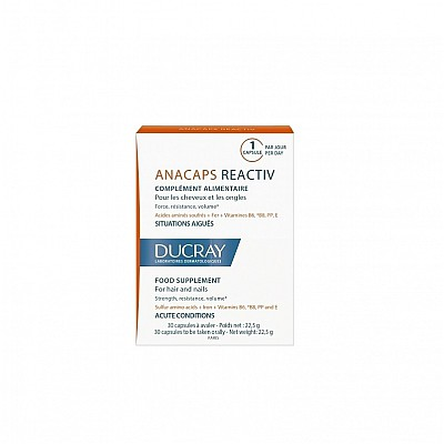 Ducray Anacaps Reactiv PROMO -15% Συμπλήρωμα Διατροφής για τα Μαλλιά & τα Νύχια - Οξείες Καταστάσεις, 30caps