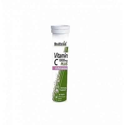 Health Aid Vitamin C 1000mg plus Echinacea - Lemon Αναβράζουσες Βιταμίνες C με Εχινάκεια & γεύση Λεμόνι, 20tabs