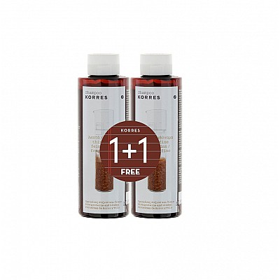 Korres Πακέτο Προσφοράς 1+1 Σαμπουάν με Πρωτεΐνες Ρυζιού και Τίλιο για Λεπτά και Αδύναμα Μαλλιά, 250ml