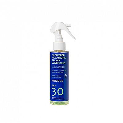Korres Cucumber & Hyaluronic Splash Sunscreen SPF30 Αντηλιακό Αγγούρι & Υαλουρονικό με Υψηλή Προστασία για Πρόσωπο & Σώμα, 150ml