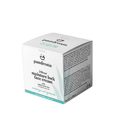 Pandrosia 24ωρη ενυδατική κρέμα προσώπου με βιολογική αλόη βέρα, βιολογικό ελαιόλαδο & υαλουρονικό οξύ 50ml