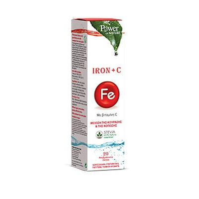 Power of Nature Iron + C Dietary Supplement with Iron & Vitamin C, 20eff.tabs