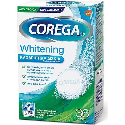 Corega Whitening Καθαριστικά Δισκία Οδοντοστοιχιών, 36 Δισκία