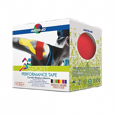 MASTER AID PERFORMANCE TAPE 5X5CM SELF-ADHESIVE ELASTIC PATTERN RED