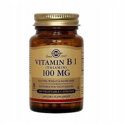 SOLGAR Vitamin B1 (Θειαμίνη) 100 mg Για Υγιές Νευρικό Σύστημα 100 veg.caps