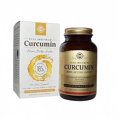 Solgar Full Spectrum Curcumin Συμπλήρωμα Διατροφής με Κουρκουμά για Βελτίωση Πέψης - Ιδανικό για Συμπτώματα Δυσπεψίας, 30softgels