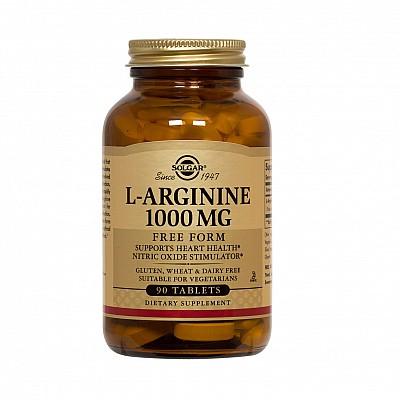Solgar L-Arginine 1000mg Συμπλήρωμα Διατροφής με Αργινίνη για Ανάπτυξη, Αποκατάσταση & Ενδυνάμωση του Μυϊκού Συστήματος, 90tabs