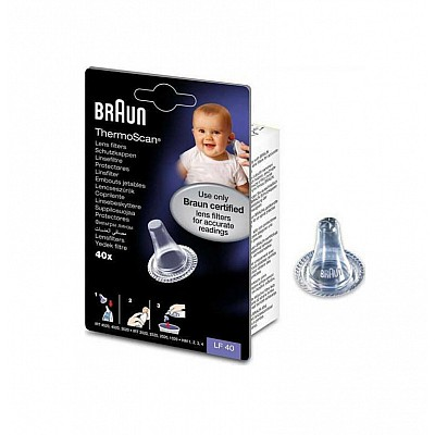 Braun LF40 Spare Filters for Braun ThermoScan Ear Thermometers, 40 pieces