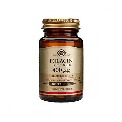 Solgar Folacin (Folic Acid) 400μg Συμπλήρωμα Διατροφής Φυλλικού Οξέος, 100tabs