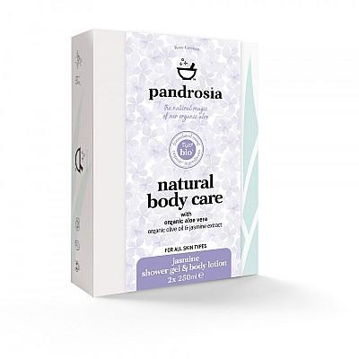 Pandrosia Φυσικό αφρόλουτρο + Φυσικό γαλάκτωμα σώματος με βιολογική αλόη, βιολογικό λάδι ελιάς & εκχύλισμα γιασεμιού 2x250ml