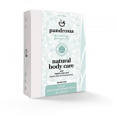 Pandrosia Φυσικό αφρόλουτρο + Φυσικό γαλάκτωμα σώματος με βιολογική αλόη, βιολογικό λάδι ελιάς & εκχύλισμα μελιού  2x250ml