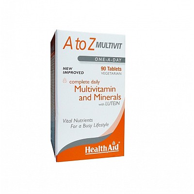 Health Aid A To Z Multivit Συμπλήρωμα Διατροφής Με Πολυβιταμίνες, Μέταλλα & Λουτεΐνη 90 Φυτικές Ταμπλέτες