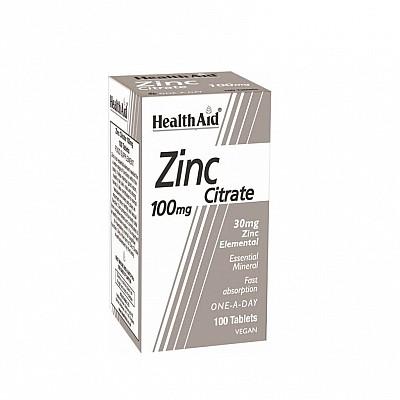Health Aid Zinc Citrate 100mg Συμπλήρωμα Διατροφής με Ψευδάργυρο για τη Φυσιολογική Λειτουργία του Ανοσοποιητικού, 100tabs