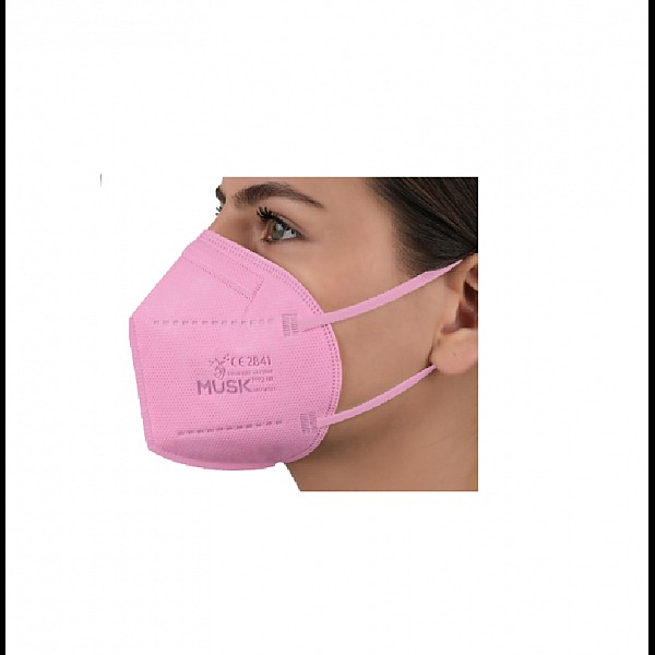 Μάσκα FFP2 NR Αναδιπλούμενη 5 Στρωμάτων Υψηλής Προστασίας MUSK Ρόζ, 1 τεμ