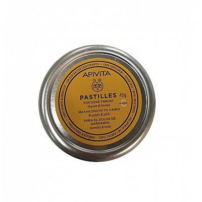 APIVITA Pastilles - Pastilles for Sore Throat with honey & thyme, 45gr