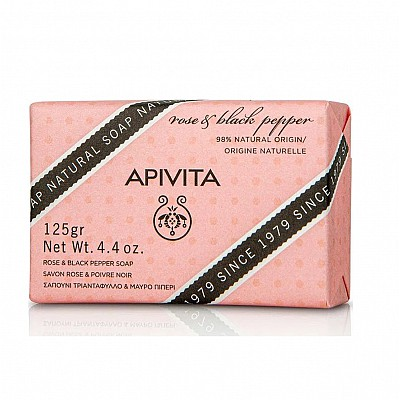 Apivita Natural Soap with Rose & Black Pepper, 125gr