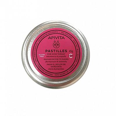 APIVITA Pastilles - Pastilles for Sore Throat with blackberry & propolis, 45gr