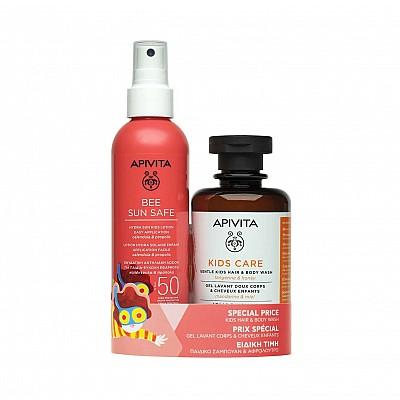 Apivita Bee Sun Safe Lotion Hydra Solaire Kids SPF50 200ml & Apivita Kids Care Hair & Body Wash 250ml