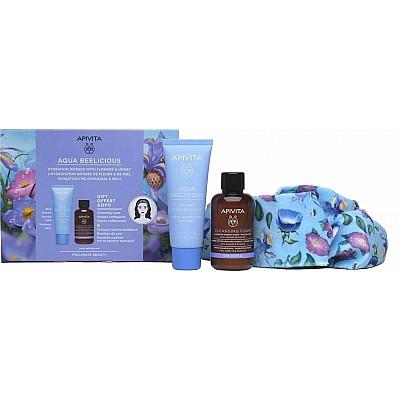 Apivita Promo Aqua Beelicious Comfort Hydrating Cream Rich Texture 40ml, Cleansing Foam 50ml & Hair Band